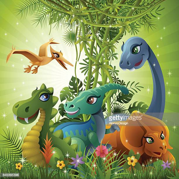jurassic friendship - jurassic stock illustrations, clip art, cartoons, & icons