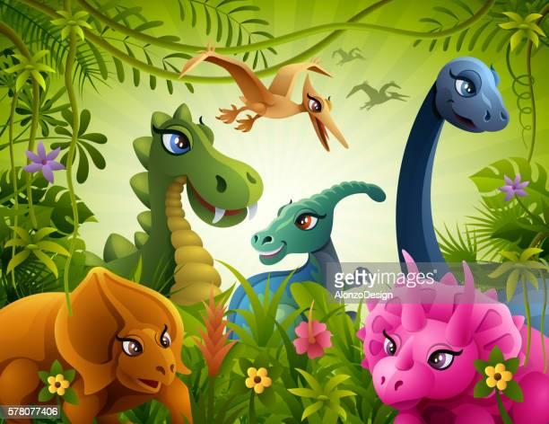 ilustrações de stock, clip art, desenhos animados e ícones de jurassic friendship - dinossauro desenho