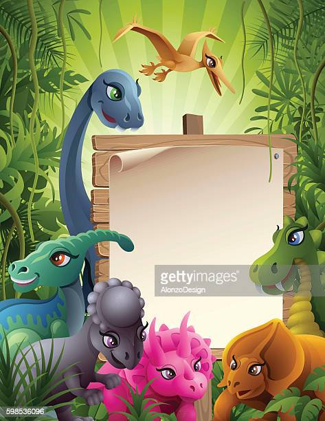 jurassic jungle with sign - geologic time scale stock-grafiken, -clipart, -cartoons und -symbole