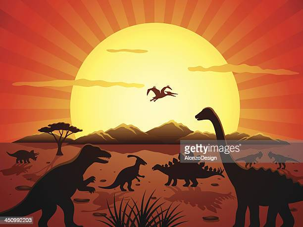 jurassic scene - jurassic stock illustrations, clip art, cartoons, & icons