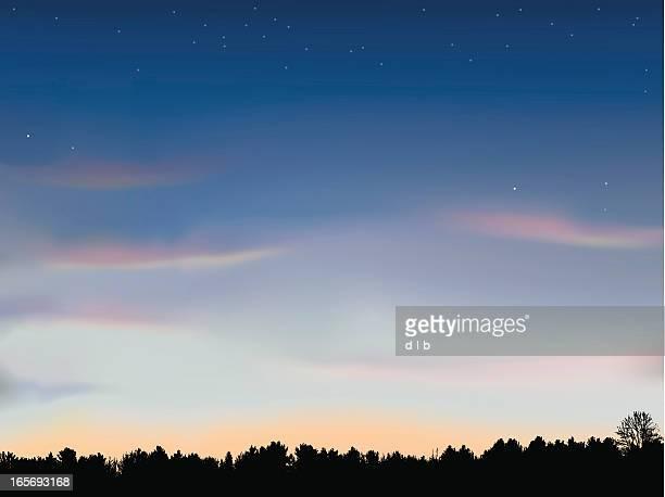 Nur nach Sonnenuntergang mit Baum-Linie Hintergrund