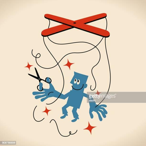 ilustrações, clipart, desenhos animados e ícones de sê tu mesmo, homem de negócios usando a tesoura para cortar as cordas de fantoche anexadas em suas mãos e pés - regras