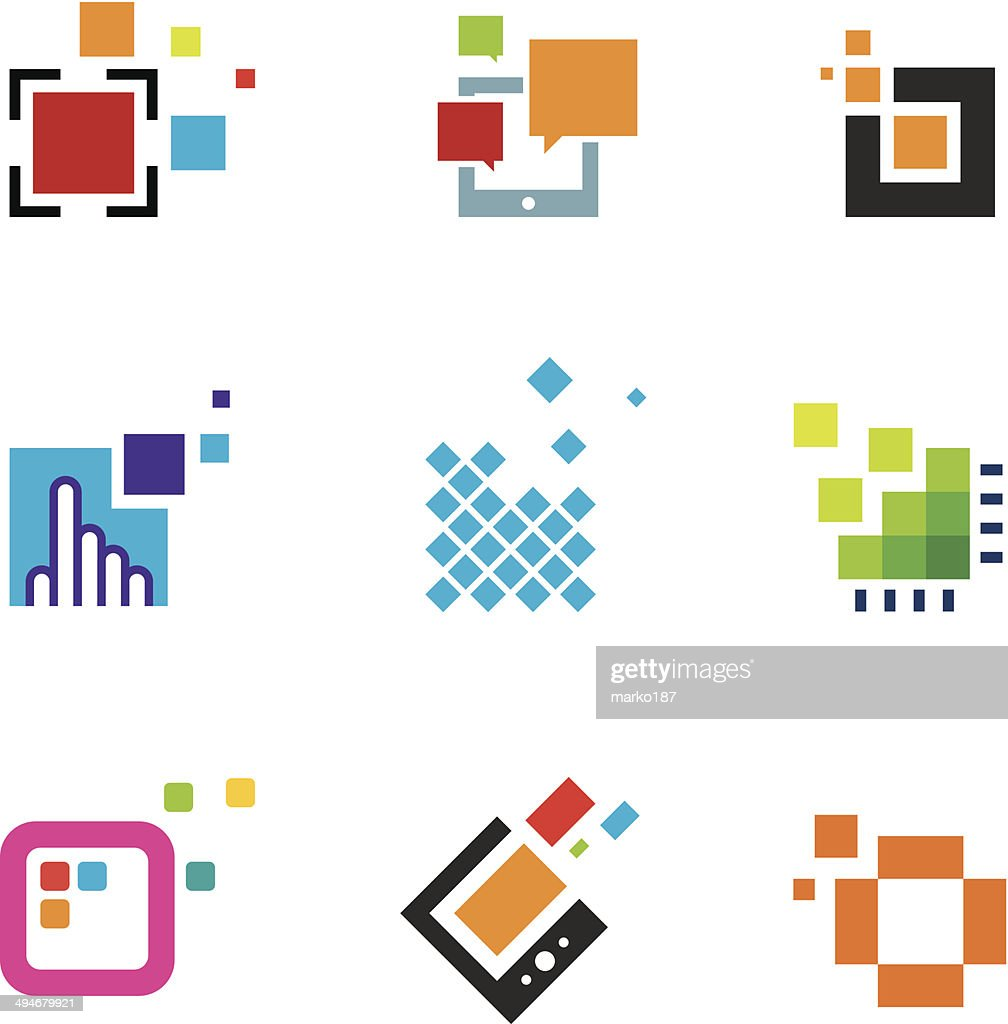 Just creative abstract colorful design geometric polygon cube icon