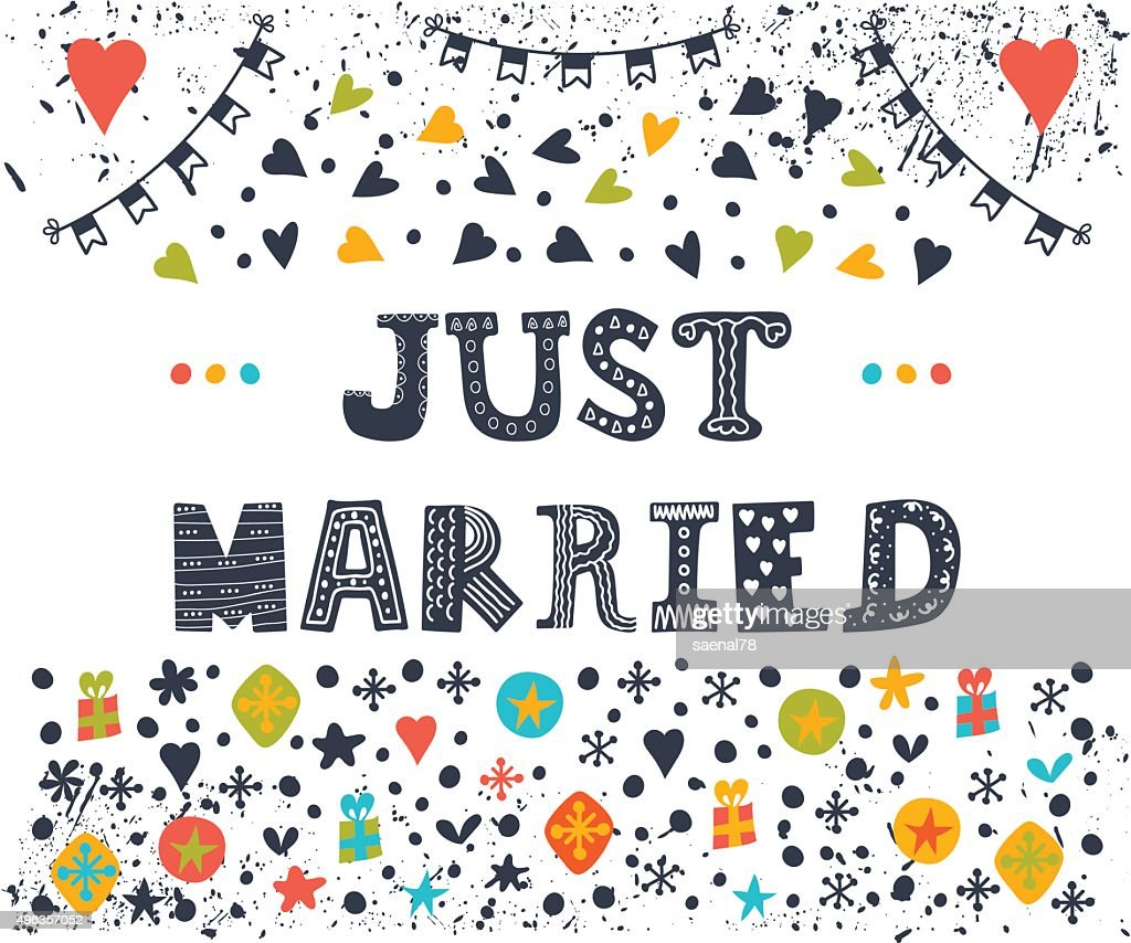 Just Married Cute Greeting Card With Decorative Elements Vector Art