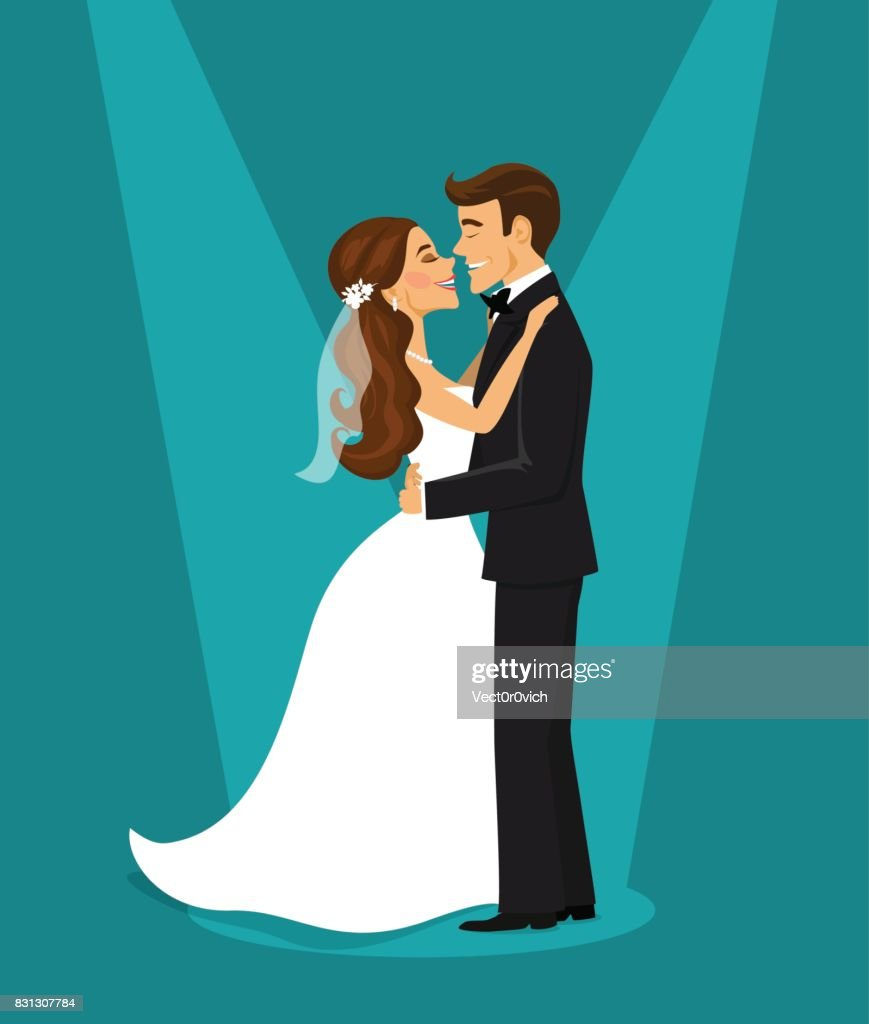 Just married happy couple bride and groom hugging each other vector illustration
