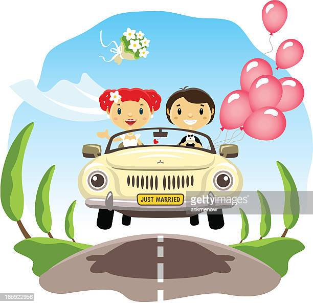 just married - honeymoon stock illustrations, clip art, cartoons, & icons