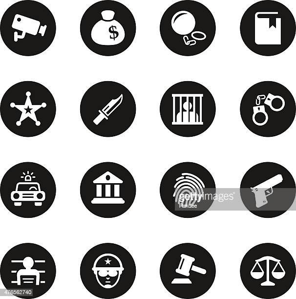 justice and law icons - black circle series - arrest stock illustrations, clip art, cartoons, & icons