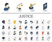 Justice and Law isometric icons. 3d vector