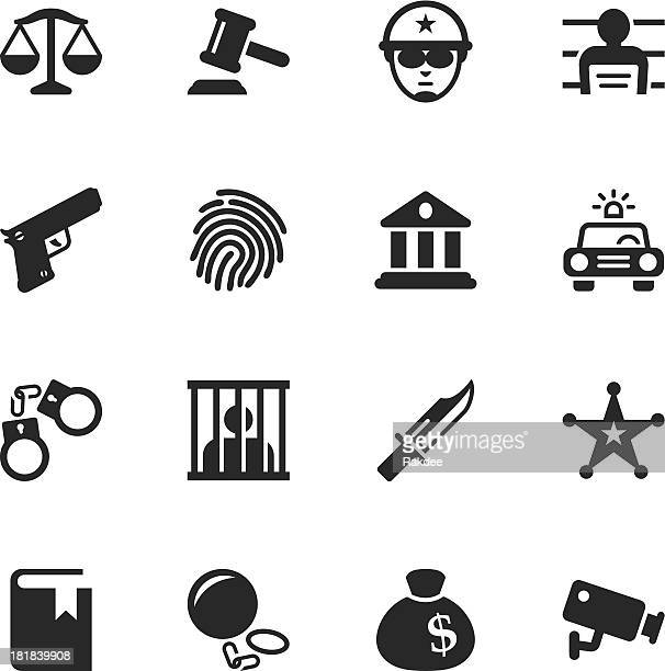 justice and law silhouette icons - arrest stock illustrations, clip art, cartoons, & icons