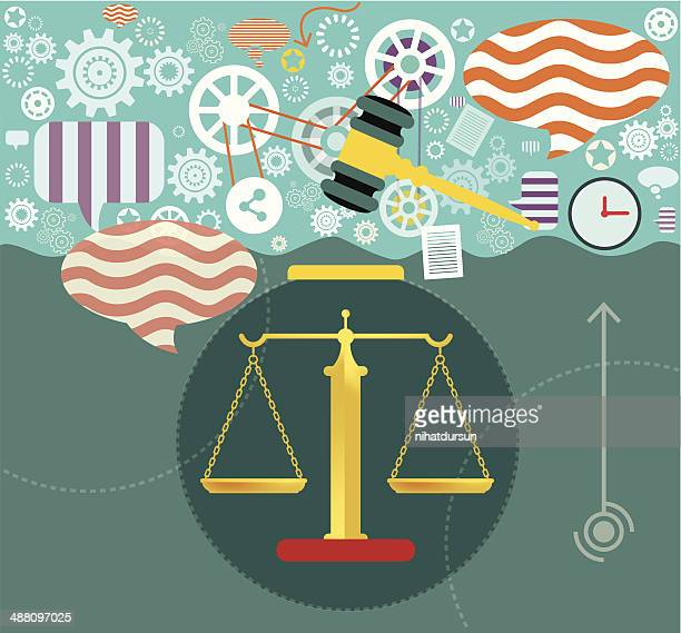 justice and law - bill of rights stock illustrations