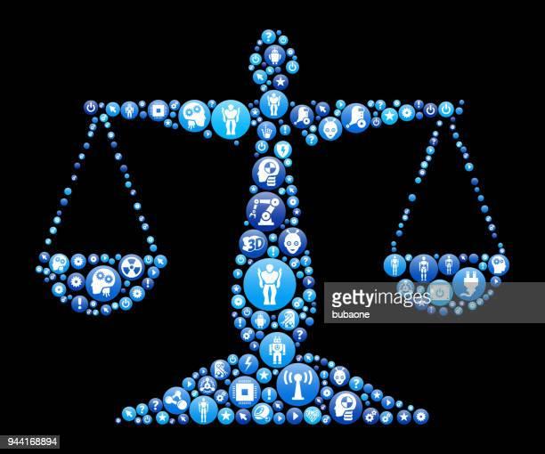 正義バランス青アイコン パターン背景 - ロボット手術点のイラスト素材/クリップアート素材/マンガ素材/アイコン素材