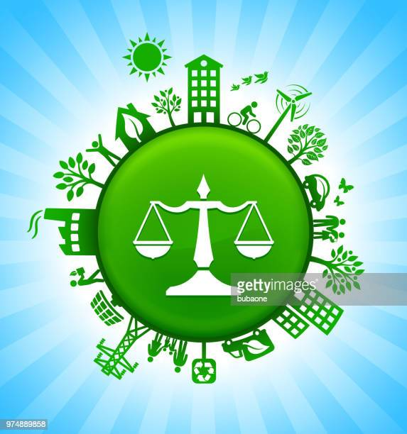 justice balance environment green button background on blue sky - environment stock illustrations