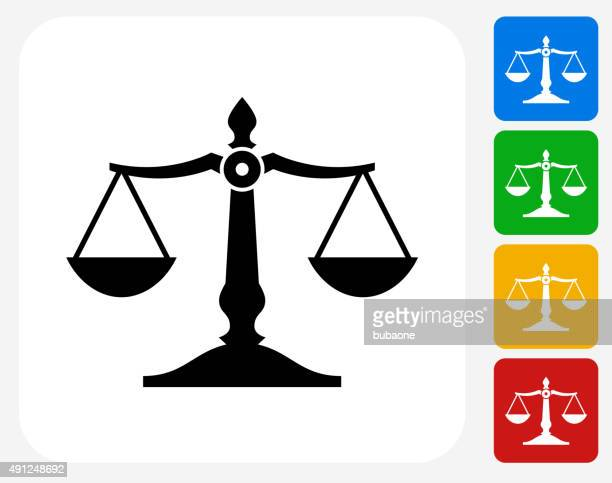 justice balance icon flat graphic design - courthouse stock illustrations, clip art, cartoons, & icons