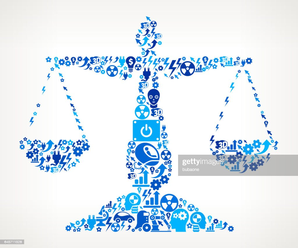 Justice Balance Icon Robot and Robotics Automation Vector Pattern : Vector Art