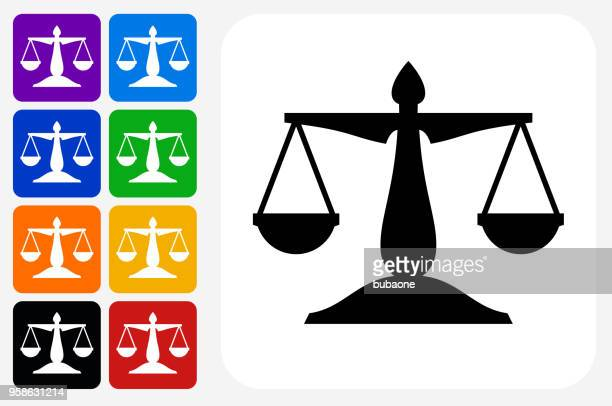 justice balance icon square button set - equal opportunity stock illustrations, clip art, cartoons, & icons