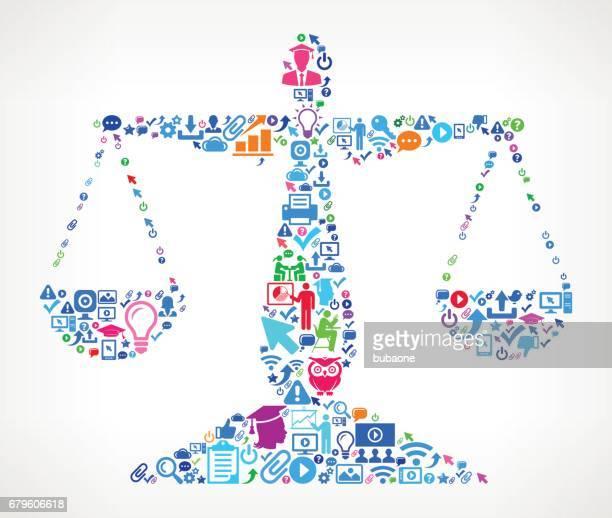 ilustraciones, imágenes clip art, dibujos animados e iconos de stock de educación moderna balanza de justicia y el colegio grado icono patrón - balanzas de la justicia
