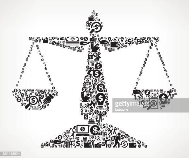 ilustraciones, imágenes clip art, dibujos animados e iconos de stock de dinero de equilibrio de justicia y finanzas fondo de icono blanco y negro - balanzas de la justicia