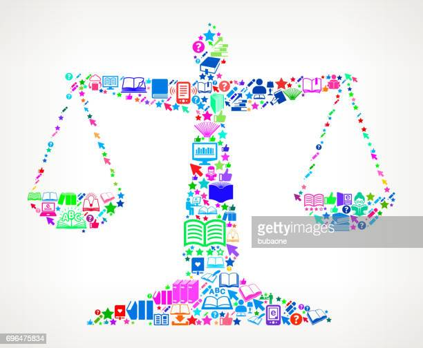 Justice Balance  Reading Books and Education Vector Icon Background