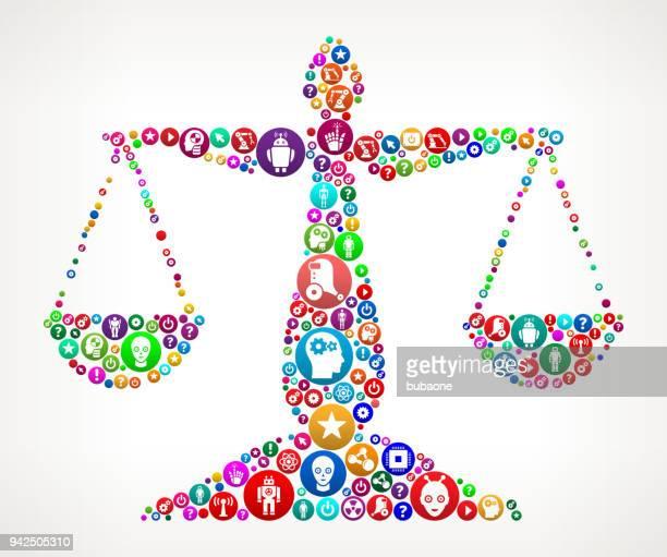正義バランス ベクトル アイコン パターン背景 - ロボット手術点のイラスト素材/クリップアート素材/マンガ素材/アイコン素材