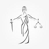 Justice Goddess Themis, lady justice Femida