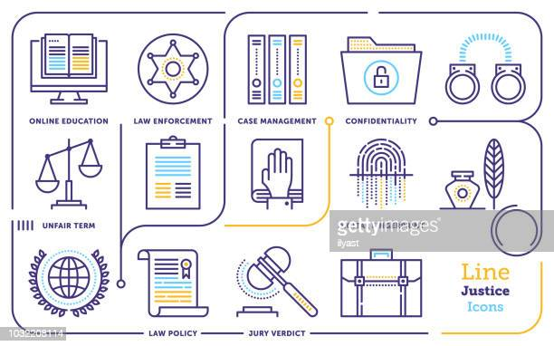 ilustrações de stock, clip art, desenhos animados e ícones de justice line icon set - crime or recreational drug or prison or legal trial