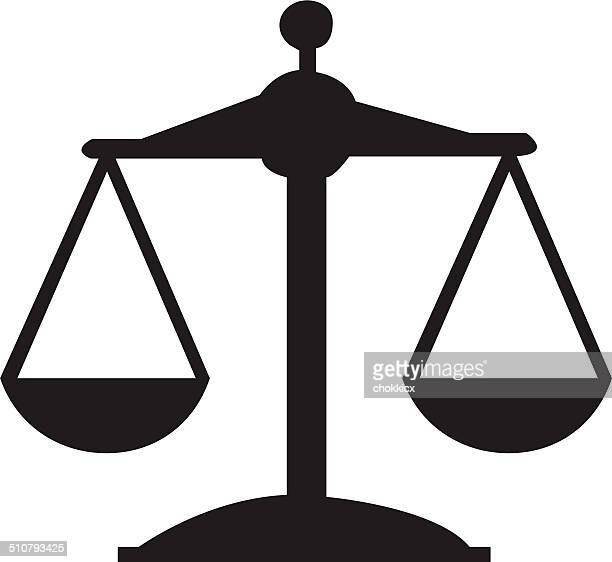 justice or scale icon - balance stock illustrations