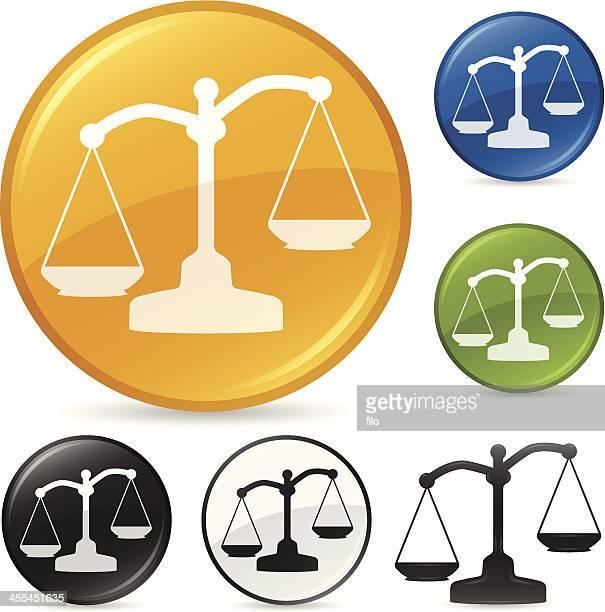 ilustraciones, imágenes clip art, dibujos animados e iconos de stock de balanza de la justicia icono de escala - balanzas de la justicia