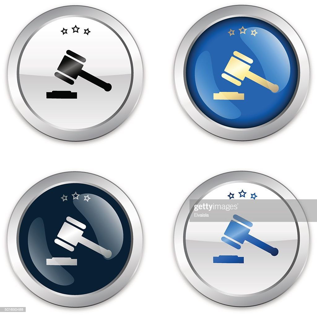 Justice seals or icons with hammer symbol