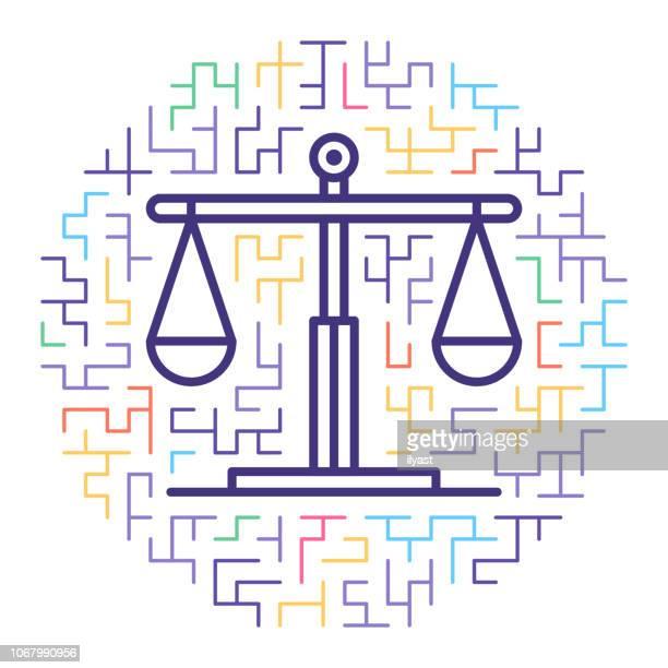 Justice System Line Icon Illustration