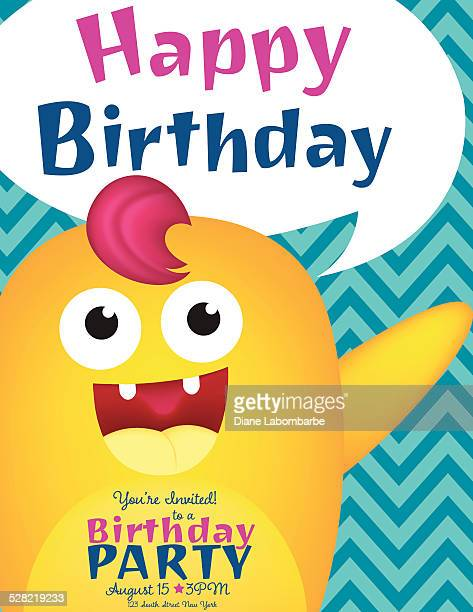 Juvenile Birthday Card Template With Cute Monster