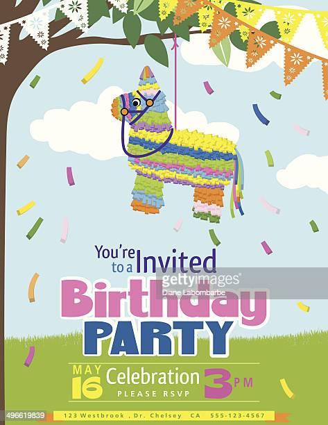 ilustrações, clipart, desenhos animados e ícones de juvenile piñata festa de aniversário modelo de convite - pinata