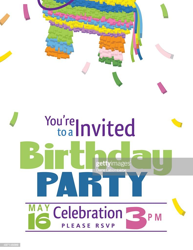 Juvenile Piñata Birthday Party Invitation Template Vector Art ...