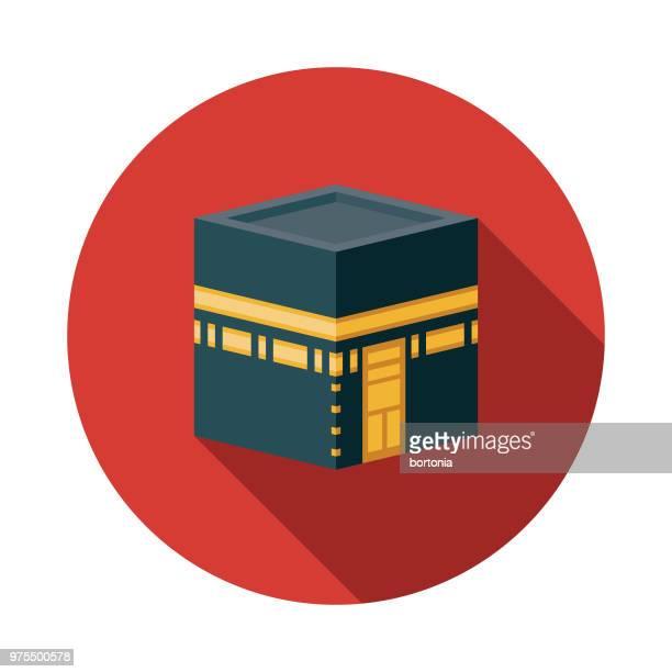 kaaba flat design ramadan icon - fasting activity stock illustrations, clip art, cartoons, & icons