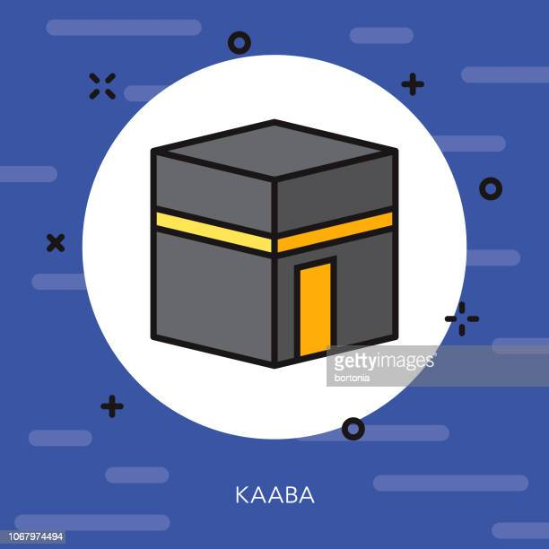 kaaba thin line ramadan icon - fasting activity stock illustrations, clip art, cartoons, & icons