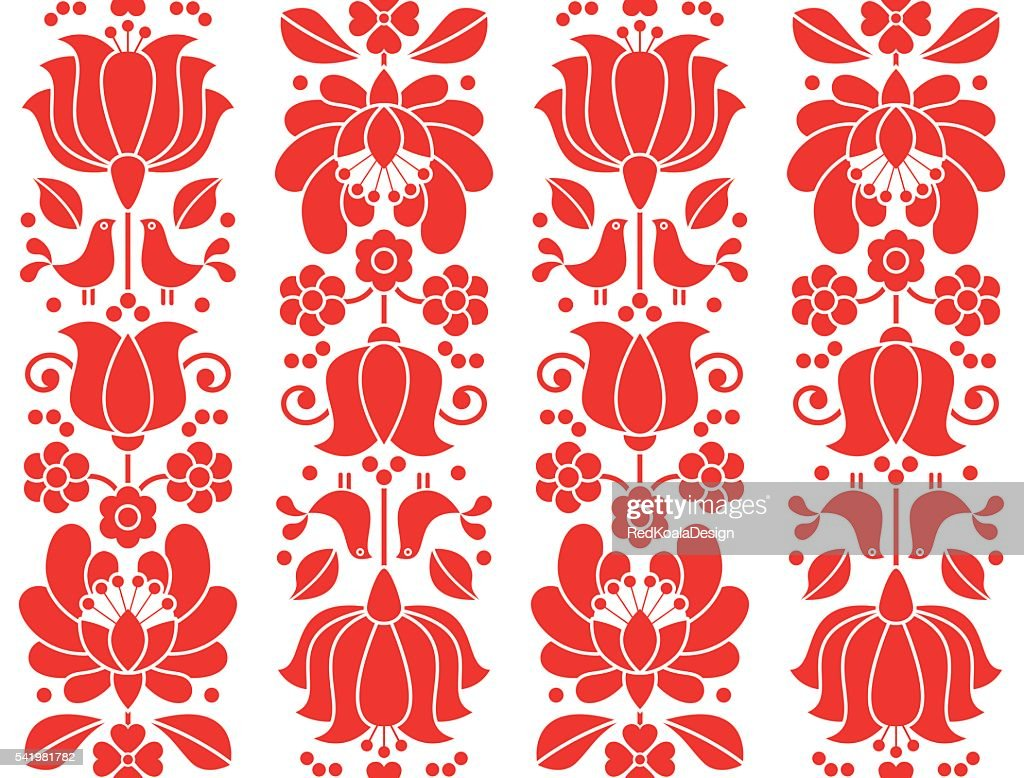 Kalocsai emrboidery red seamless patternn - floral folk art background