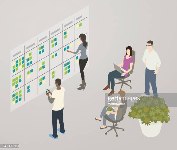 kanban board illustration - mathisworks business stock illustrations
