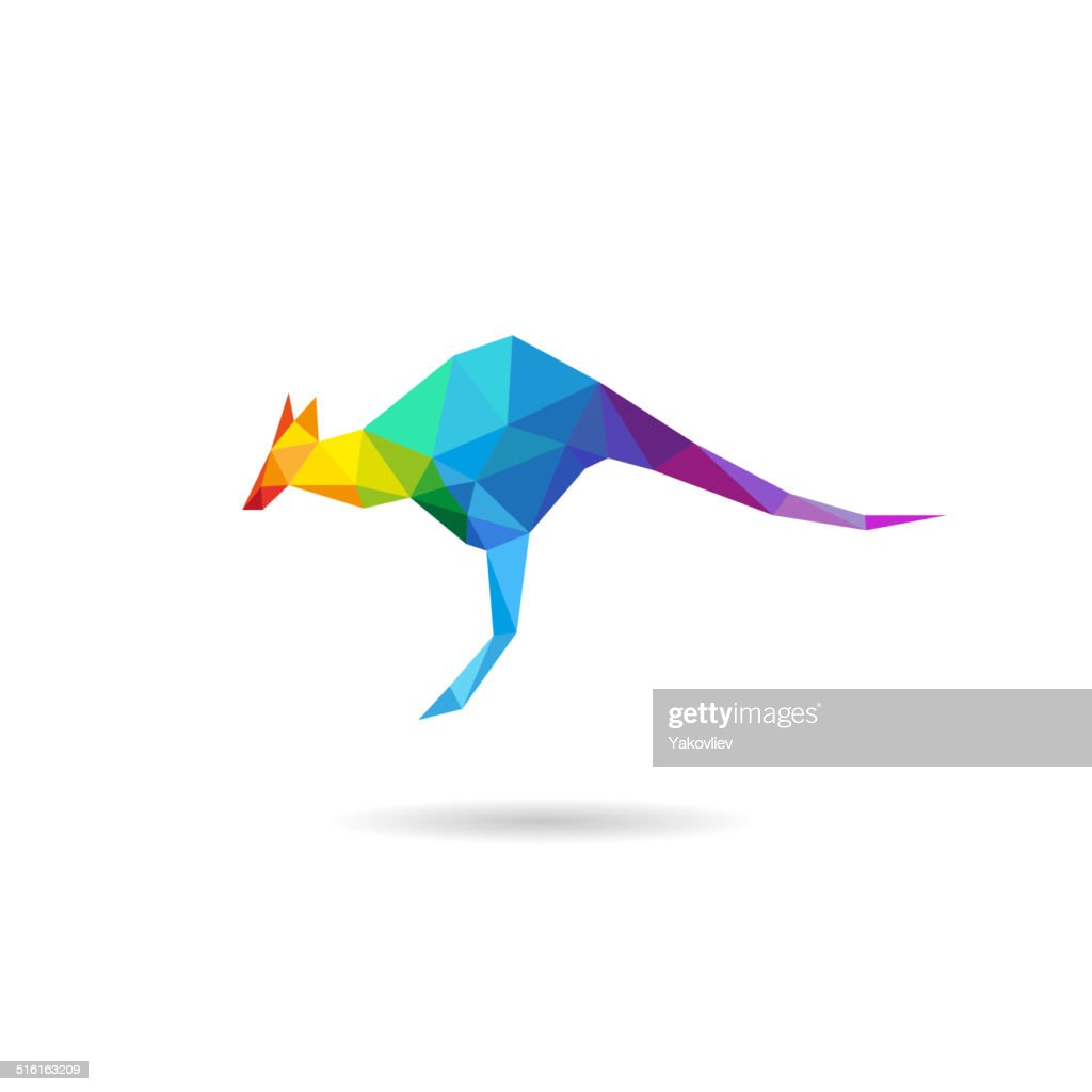 Kangaroo abstract isolated on a white backgrounds, vector illustration