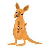 Kangaroo and baby kangaroo animal cartoon character vector illustration.