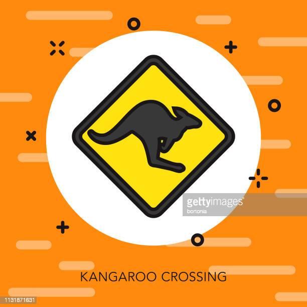 kangaroo crossing australia icon - animal crossing sign stock illustrations