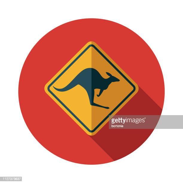 kangaroo crossing sign australia icon - crossing sign stock illustrations, clip art, cartoons, & icons