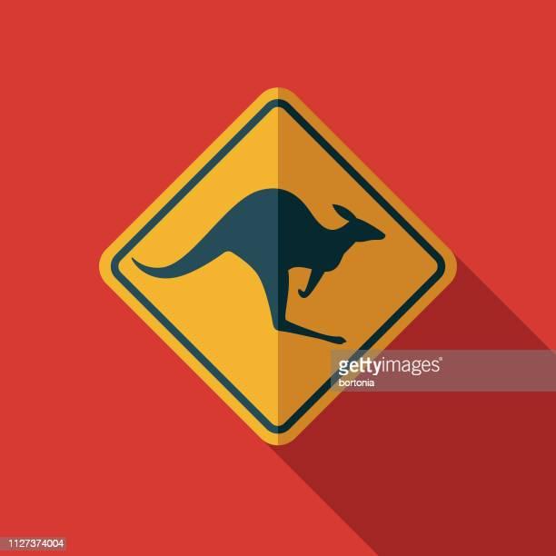 kangaroo crossing sign australia icon - animal crossing sign stock illustrations