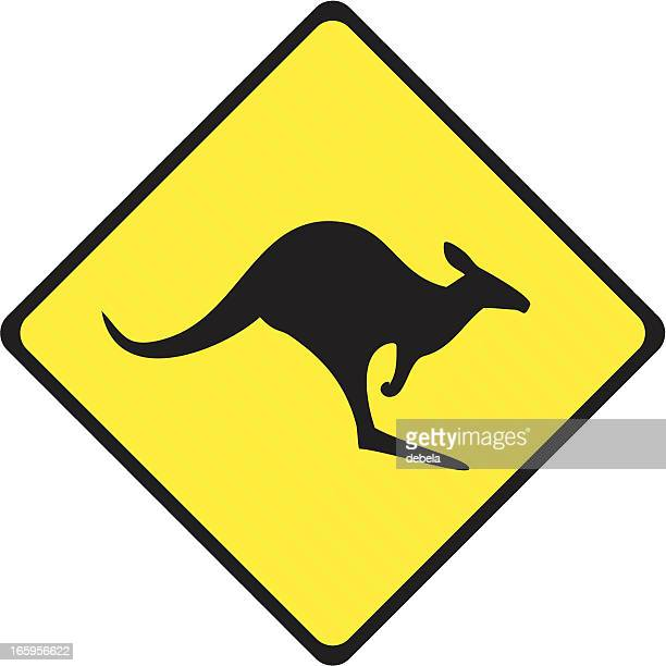 kangaroo crossing sign - animal crossing sign stock illustrations