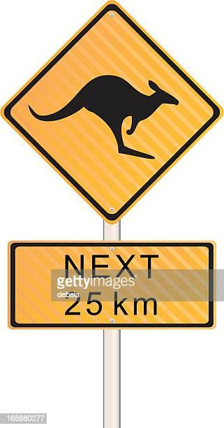 schild kängurus kreuzen - verkehrswarnung stock-grafiken, -clipart, -cartoons und -symbole