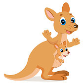 Kangaroo Encounter. Cartoon Animals Vector. Mother Kangaroo With Her Little Cute Baby Kangaroo.
