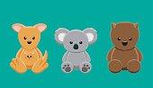 Kangaroo Koala Wombat Doll Set Cartoon Vector Illustration