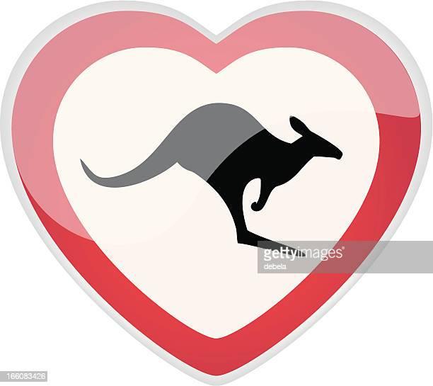 kangaroo love sign - crossing sign stock illustrations, clip art, cartoons, & icons
