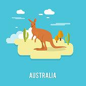 Kangaroo native Australian animal on desert in Australia illustration design