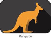 Kangaroo side flat 3D icon design