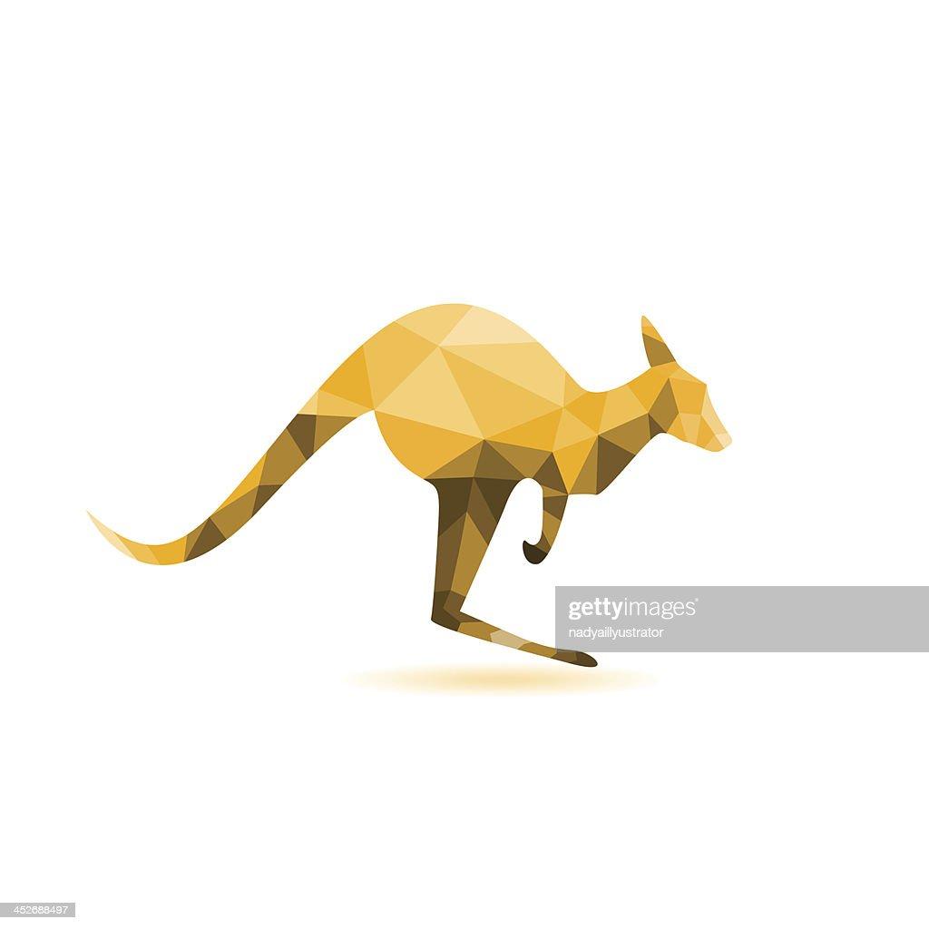 Kangaroo silhouette - vector illustration,abstract geometry