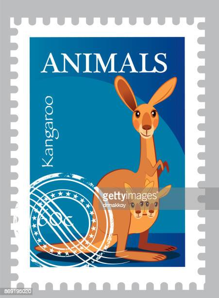 kangaroo stamp - melbourne stock illustrations